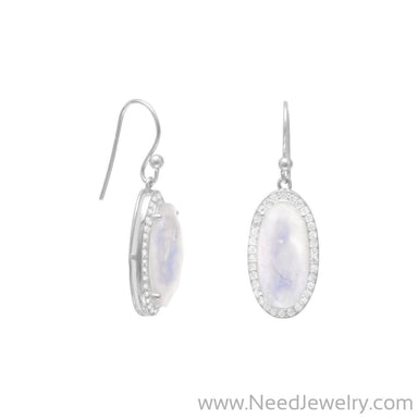 Oblong Rainbow Moonstone Earrings with CZ Edge-Earrings-Needjewelry.com
