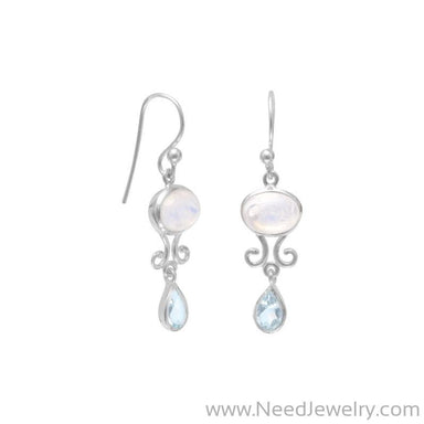 Rainbow Moonstone and Blue Topaz Drop Earrings-Earrings-Needjewelry.com