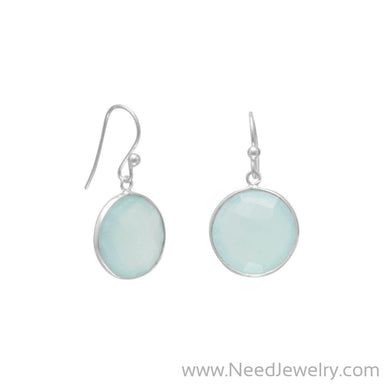 Faceted Sea Green Chalcedony Earrings-Earrings-Needjewelry.com