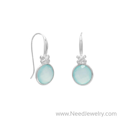 "Faceted Sea Green Chalcedony Earrings with ""X"" Design-Earrings-Needjewelry.com"