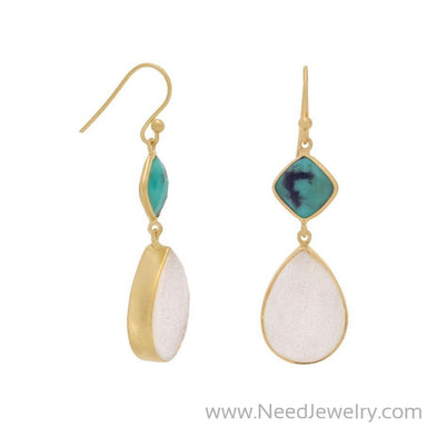 14K Gold Plated Earrings with Stabilized Turquoise and Druzy-Earrings-Needjewelry.com