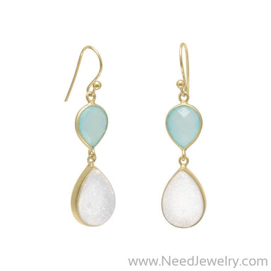 14K Gold Plated Earrings with Green Chalcedony and Druzy-Earrings-Needjewelry.com