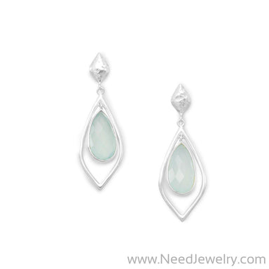 Faceted Green Chalcedony Drop Earrings-Earrings-Needjewelry.com
