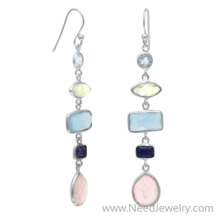 Gorgeous Multistone Long Drop Earrings-Earrings-Needjewelry.com