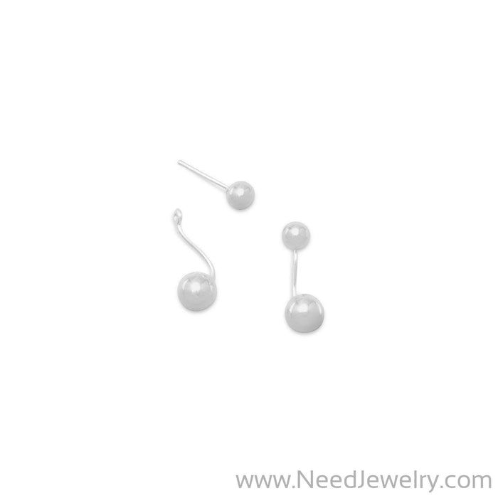 Polished 2 Bead Front Back Earrings-Earrings-Needjewelry.com