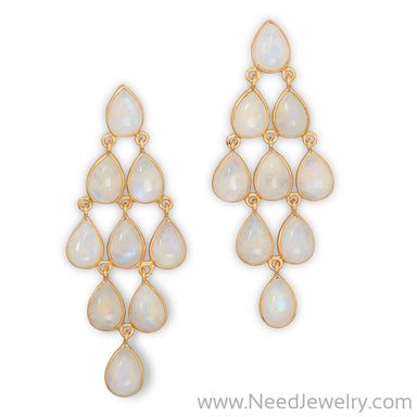 14 Karat Gold Plated Rainbow Moonstone Chandelier Earrings-Earrings-Needjewelry.com
