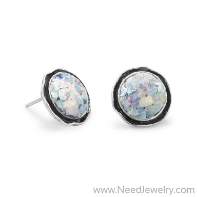 Round Oxidized Edge Roman Glass Earrings-Earrings-Needjewelry.com