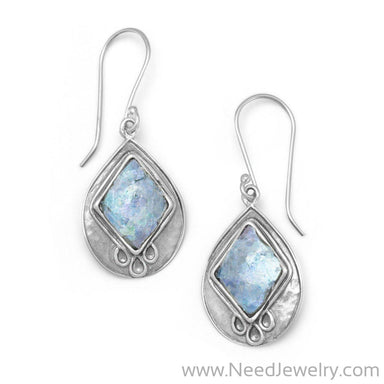 Textured Pear Ancient Roman Glass Earrings-Earrings-Needjewelry.com