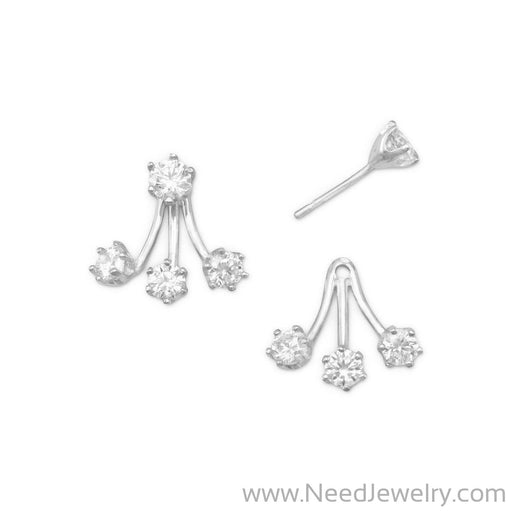 Rhodium Plated CZ Front Back Earrings-Earrings-Needjewelry.com