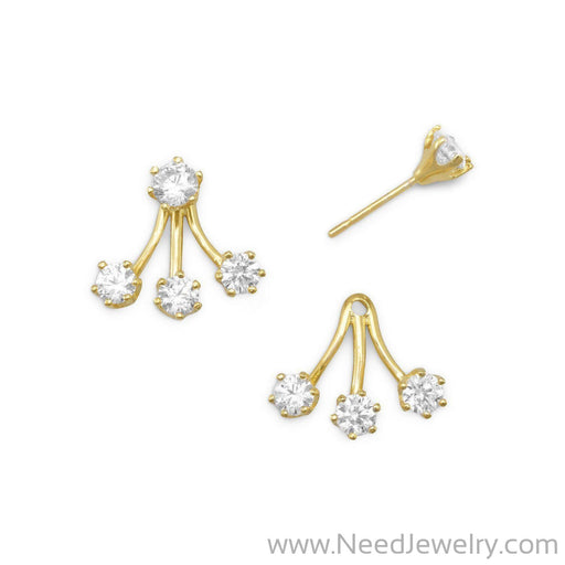 14 Karat Gold Plated CZ Front Back Earrings-Earrings-Needjewelry.com