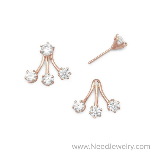 14 Karat Rose Gold Plated CZ Front Back Earrings-Earrings-Needjewelry.com