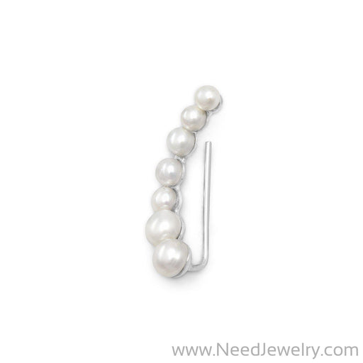 Rhodium Plated Graduated Cultured Freshwater Pearl Ear Climbers-Earrings-Needjewelry.com