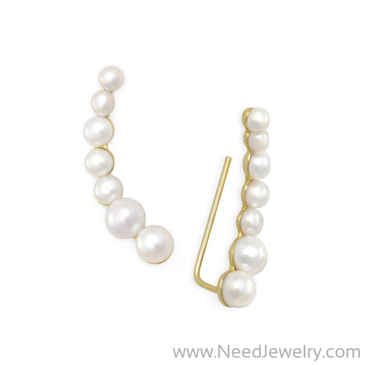 14 Karat Gold Plated Graduated Cultured Freshwater Pearl Ear Climbers-Earrings-Needjewelry.com