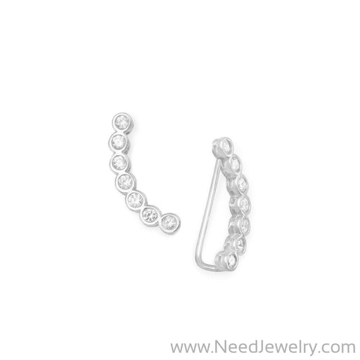 Rhodium Plated Bezel CZ Ear Climbers-Earrings-Needjewelry.com