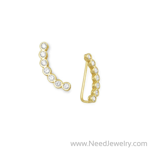 14 Karat Gold Plated Bezel CZ Ear Climbers-Earrings-Needjewelry.com