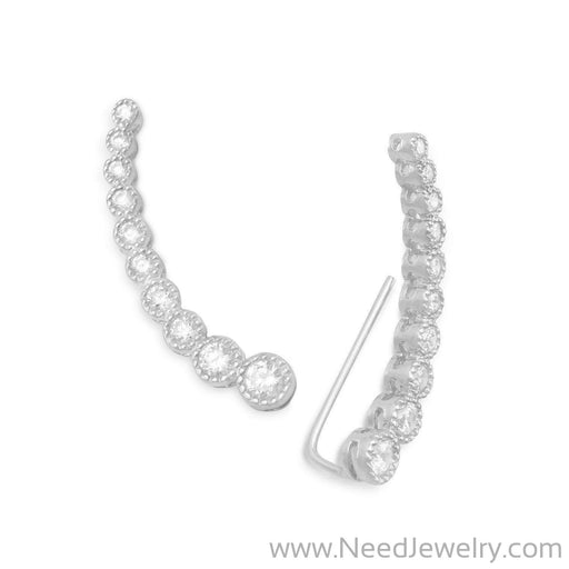 Textured Rhodium Plated Bezel CZ Ear Climbers-Earrings-Needjewelry.com