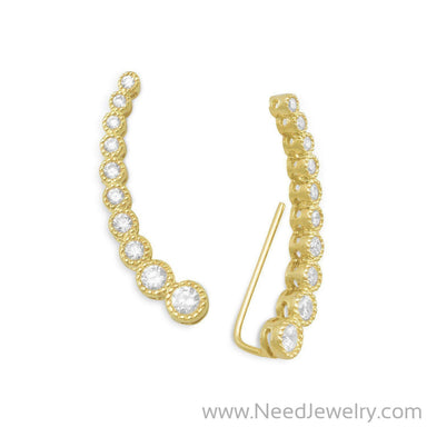 Textured 14 Karat Gold Plated Bezel CZ Ear Climbers-Earrings-Needjewelry.com