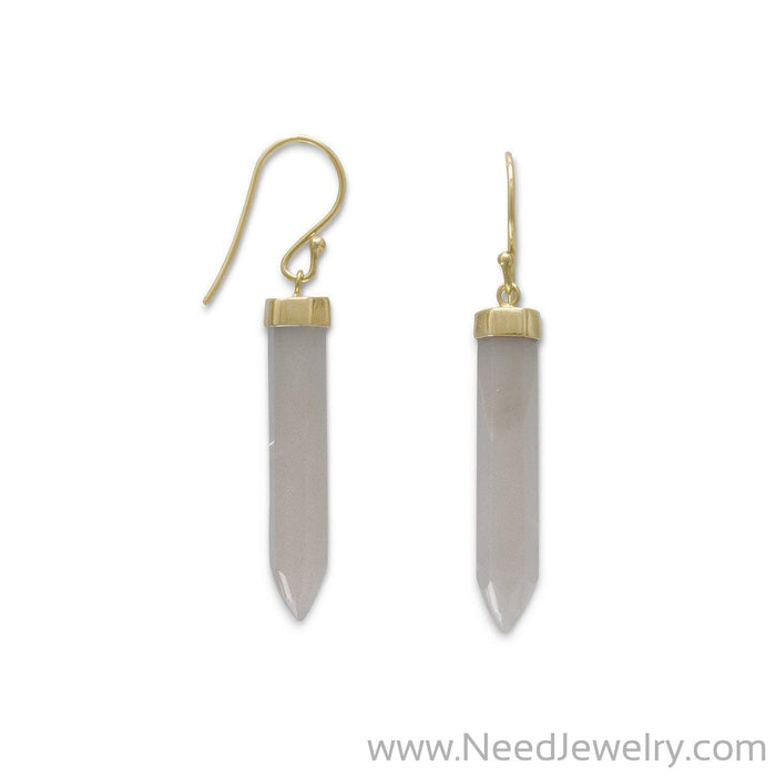 14 Karat Gold Plated Spike Pencil Cut Gray Moonstone Earrings-Earrings-Needjewelry.com