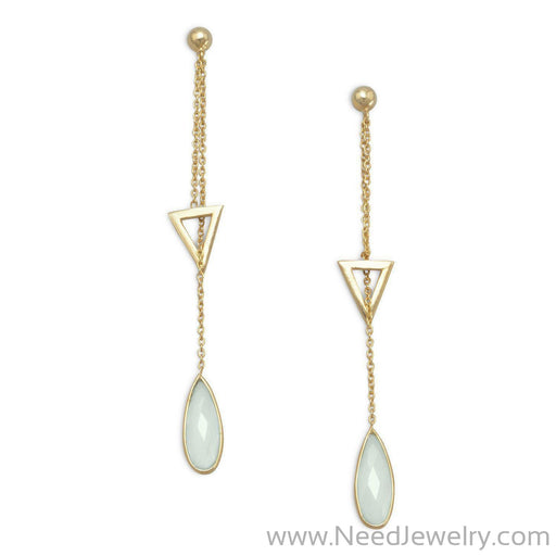 14 Karat Gold Plated Lariat Style Earrings with Chalcedony Drop-Earrings-Needjewelry.com