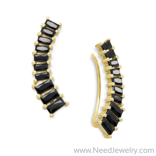 14 Karat Gold Plated Ear Climbers with Black CZs-Earrings-Needjewelry.com