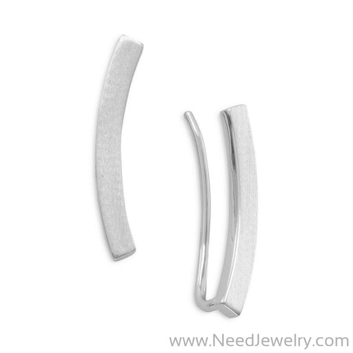 Rhodium Plated Curved Bar Ear Climbers-Earrings-Needjewelry.com