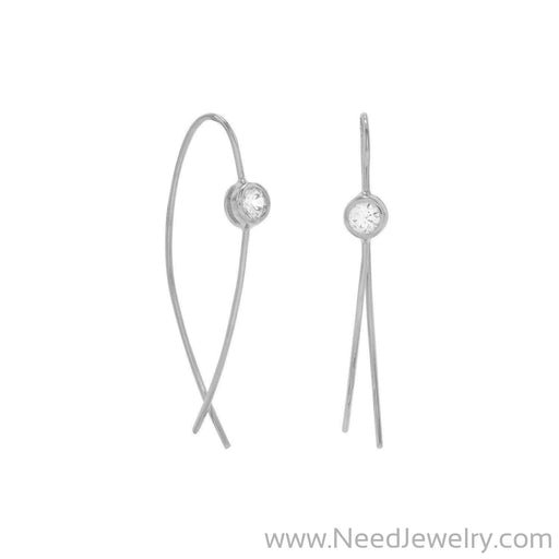 Rhodium Plated Thin Wire with Bezel CZ Earrings-Earrings-Needjewelry.com