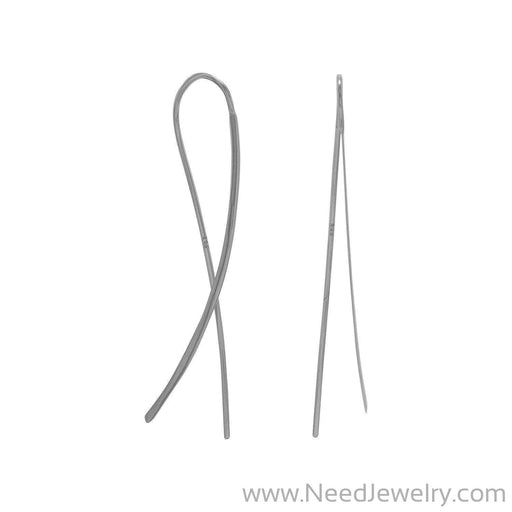 Rhodium Plated Flat Long Wire Earrings-Earrings-Needjewelry.com