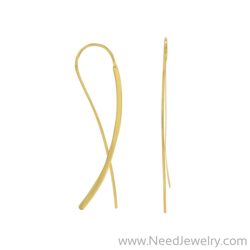 14 Karat Gold Plated Flat Long Wire Earrings-Earrings-Needjewelry.com