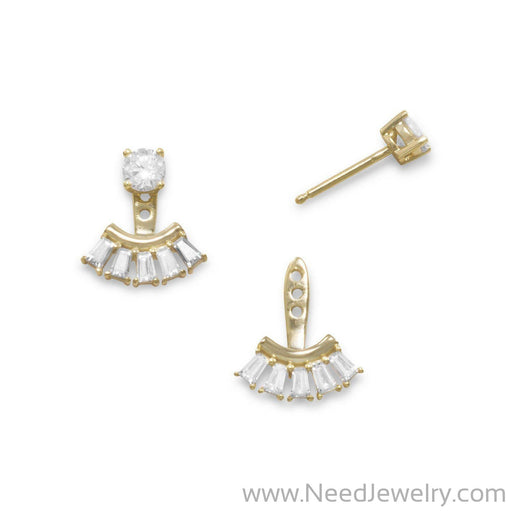 14 Karat Gold Plated Multishape CZ Front Back Earrings-Earrings-Needjewelry.com