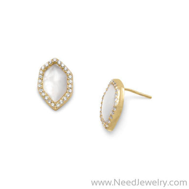 14 Karat Gold Plated Mother of Pearl and CZ Halo Earrings-Earrings-Needjewelry.com