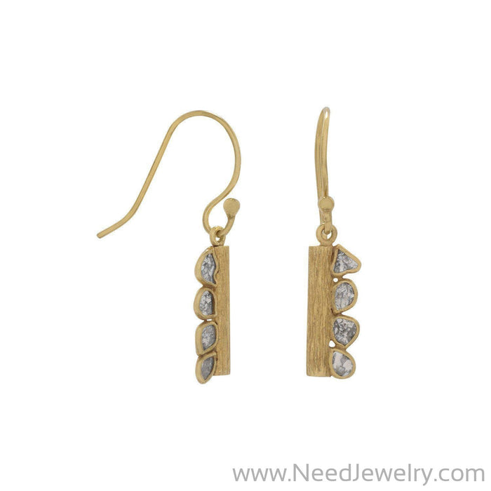 14 Karat Gold Plated Polki Diamond Drop Earrings-Earrings-Needjewelry.com