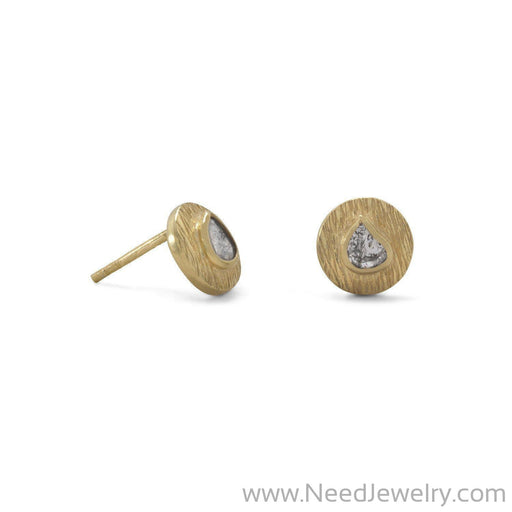 14 Karat Gold Plated Polki Diamond Post Earrings-Earrings-Needjewelry.com