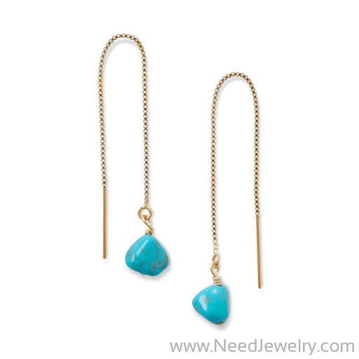 Turquoise Bead Threader Earrings-Earrings-Needjewelry.com