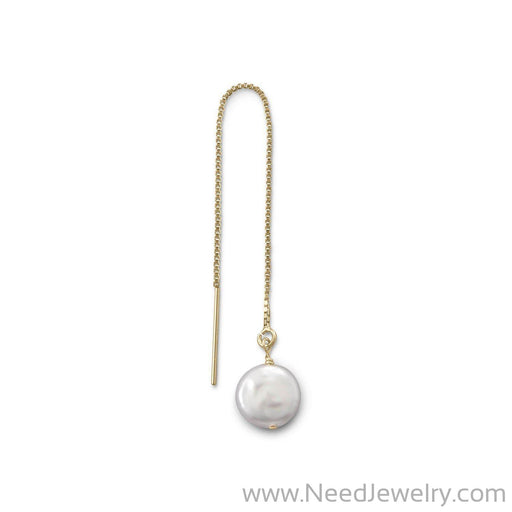 Single Cultured Freshwater Coin Pearl Threader Earring-Earrings-Needjewelry.com