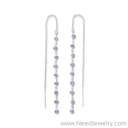 Tanzanite Bead Threader Earrings-Earrings-Needjewelry.com
