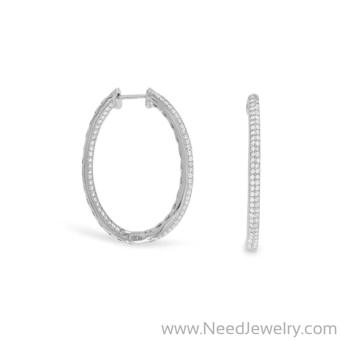 Rhodium Plated CZ In/Out Hoop Earrings-Earrings-Needjewelry.com