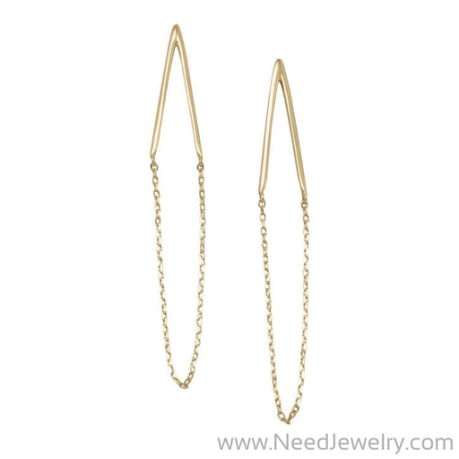 14 Karat Gold Plated Chain Drop Earrings-Earrings-Needjewelry.com