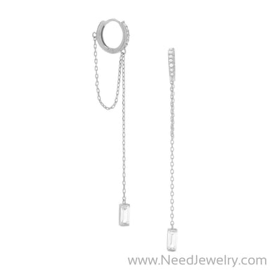 Rhodium Plated CZ Hoop Earrings with Chain Drop-Earrings-Needjewelry.com
