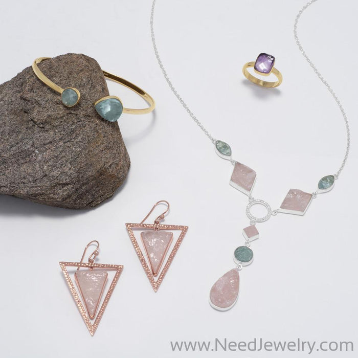 14 Karat Rose Gold Plated Rose Quartz Triangle Earrings-Earrings-Needjewelry.com