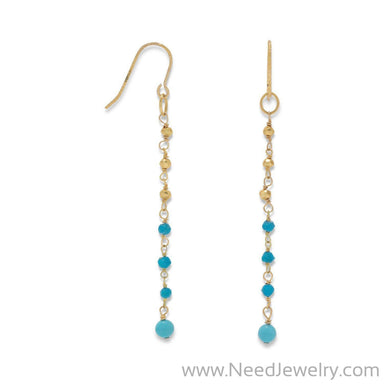 14K Gold Plated French Wire Earrings with Reconstituted Turquoise Beads-Earrings-Needjewelry.com