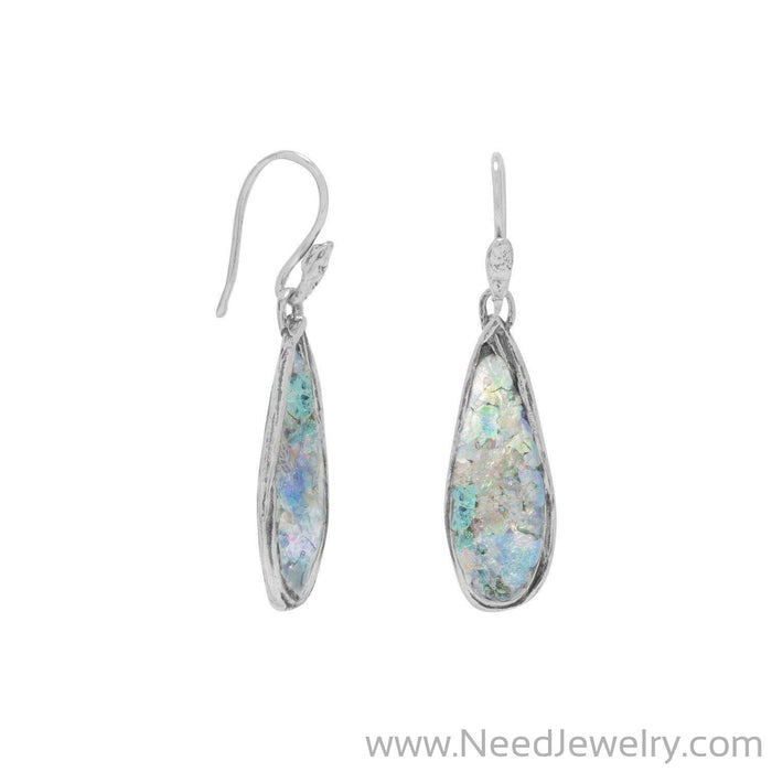 Ancient Roman Glass Pear Drop Earrings-Earrings-Needjewelry.com