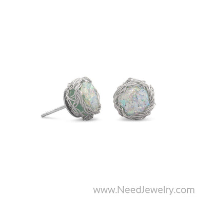 Round Ancient Roman Glass Stud Earrings with Woven Wire Mesh-Earrings-Needjewelry.com