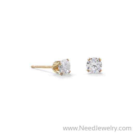 14/20 Gold Filled 4mm CZ Stud Earrings-Earrings-Needjewelry.com