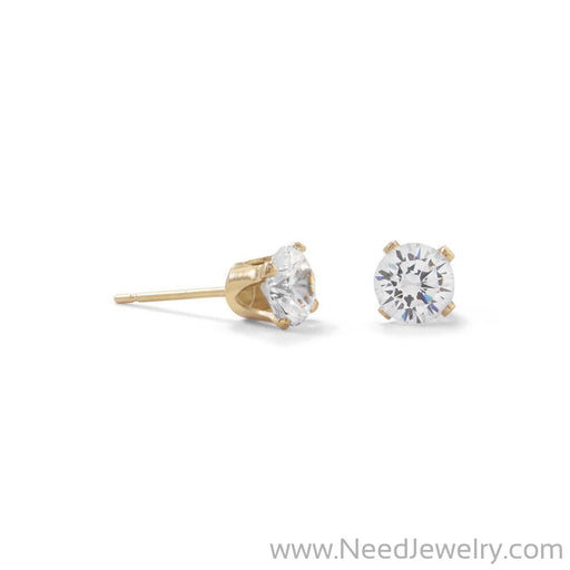 14/20 Gold Filled 5mm CZ Stud Earrings-Earrings-Needjewelry.com