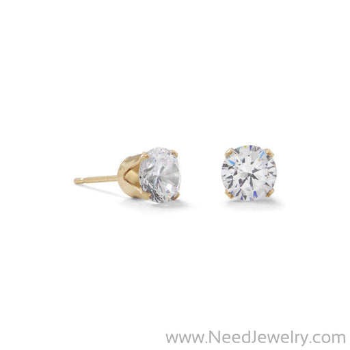 14/20 Gold Filled 6mm CZ Stud Earrings-Earrings-Needjewelry.com