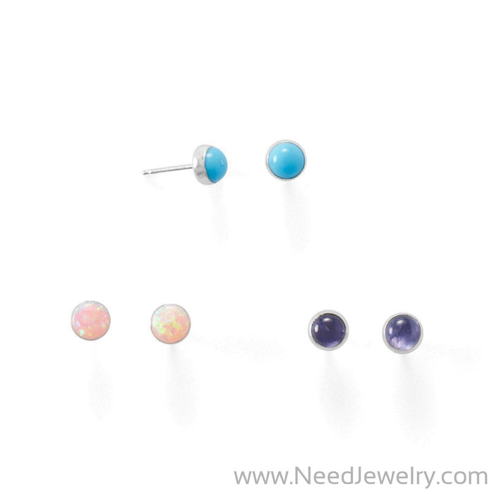 Set of 3 Synthetic Pink Opal, Reconstituted Turquoise, and Iolite Button Studs-Earrings-Needjewelry.com