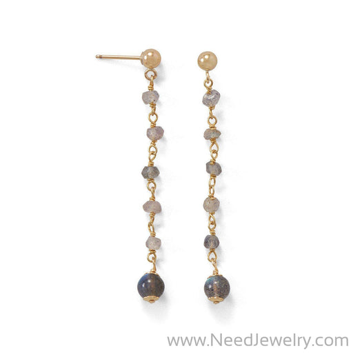 14 Karat Gold Plated Post Earrings with Labradorite Beads-Earrings-Needjewelry.com