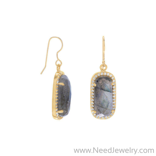 14 Karat Gold Plated Labradorite with CZ Edge Earrings-Earrings-Needjewelry.com