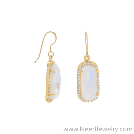14 Karat Gold Plated Rainbow Moonstone with CZ Edge Earrings-Earrings-Needjewelry.com