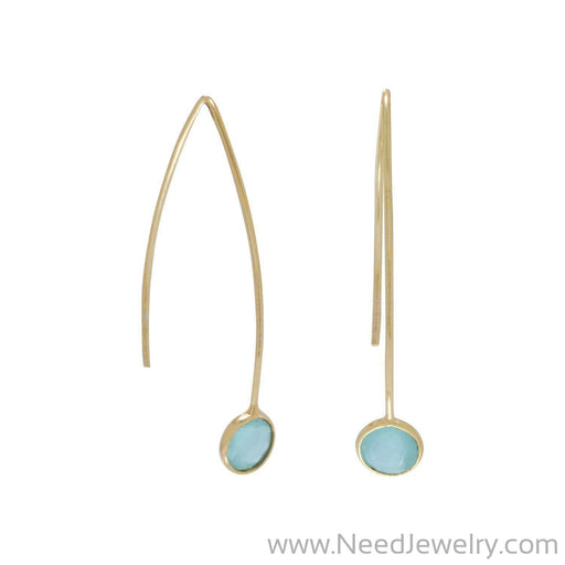 14 Karat Gold Plated Green Hydro Glass Wire Earrings-Earrings-Needjewelry.com